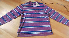 NWT Cremieux Rugby Tee Long Sleeve XL Burgundy Striped