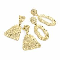 Deux Paires Or Couleur Porté Estampé Effet 5cm Goutte Earring Set Costume Bijoux