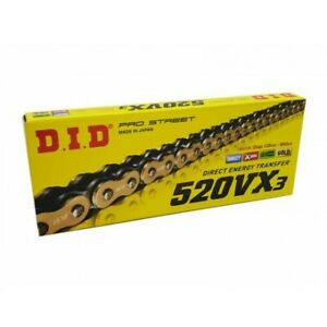 DID 520 VX3 GOLD/BLACK MOTORCYCLE CHAIN WITH RIVET LINK 120 links