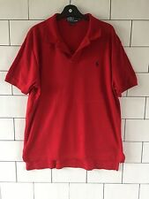 MENS VINTAGE RETRO RALPH LAUREN SHORT SLEEVE RED POLO TOP T SHIRT LARGE #146