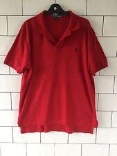 Herren Vintage Retro Ralph Lauren Kurzarm Rot Polo Top T Shirt große #146
