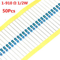 50Pcs 1/2W 0.5W Metal Film Resistor 1% 620 680 750 820 1 - 910 Ω Ohm