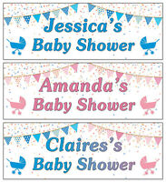 2 Baby Shower Banners Personalised, Boy, Girl, Unisex Pink Blue