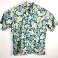 Tori Richard Mens XL Hawaiian Shirt Short Sleeve Cotton Tropical Blue Gold