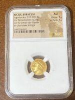 317 - 289 BC Apollo Sicily Agathocles AV Decadrachm ancient gold coin NGC CH AU