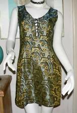 Vintage Fitted Designer Laced Front Woven Brocade Dress/80's