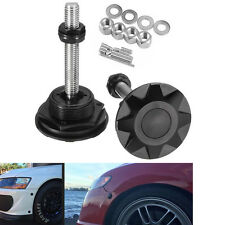 Black Quick Latch Pair Push Button Racing Car Hood Pin Bonnet Lock Bumper Clip
