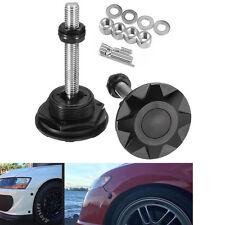 Black Quick Latch Pair Push Button Racing Car Hood Pin Bonnet Lock Bumper Clip