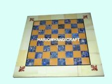 15'' Marble Chess Table Top Lapis Mosaic Playing Game Hallway Inlaid Decor M230