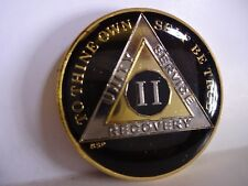 AA BSP Black Gold 2 Year Coin Tri-Plate Alcoholics Anonymous Medallion Top Grade