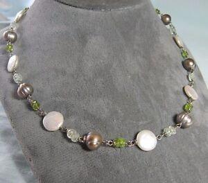 "ALAN LOVE 925 Sterling Silver Necklace w Peridot & Pearls  18"""