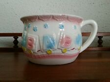 Relpo Blue And Pink Baby Soup Mug Planter With Embossed Baby Train