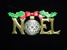 """JJ"" Jonette Jewelry Gold & Silver Pewter 'NOEL with Ornament' Christmas Pin"