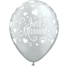 """10 x Just Married Balloons 11/"""" blue with white writing free ribbon"""