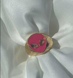 Punk Metal Geometric Ring Alien Face Head Crystal Ring Women Trendy Jewelry Gift