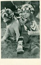 New ListingRare Old Dog Postcard Border Terrier & Child with Pipe 1936 Netherlands