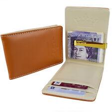 Homme marron crème & slim or argent clip-en cuir synthétique portefeuille id card cash holder