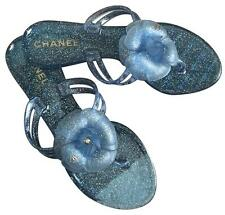 NEW CHANEL BLUE GLITTERY FLIP FLOPS. SZ 6. THEY COME WITH BOX AND DUST BAG