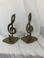 Vintage Solid Brass Treble Clef Musical Note Park Of Bookends, Made In Taiwan