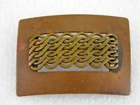 Vintage Copper Filigree Woven Metal Brooch 1930s Pin Catch Steampunk Unsigned