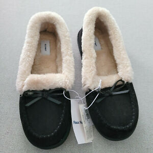 New Old Navy Womens 8 Loafer Slippers Slip On Black Faux Fur 631127 Moccasin
