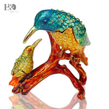 Hand-Painted Crystal Metal Kingfisher Trinket Boxes Figurine Jewelry Lady Gift