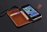 Genuine Leather Wallet Card Holder Flip Stand Case Cover Apple iPhone 5C