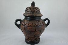 Brownish Bronze Terra Cotta 2 handle Ceramic Urn With Lid