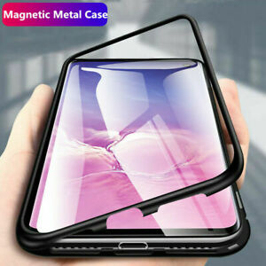 For Samsung Galaxy A10 A20 A50 A70 Luxury Magnet Metal Tempered Glass Case Cover