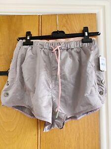 Free People Minky Brown Shorts with Pink Tie and Waistband XS