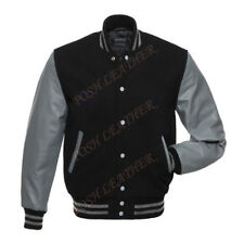 Men's Varsity Letterman Baseball bomber Jacket Wool & Leather Sleeve Black/Gray