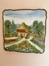 Vintage Chico German majolica hand painted log cabin, chalet plate