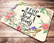 BOHO Floral Mouse Pad with Inspirational Quote Desk Accessories Office Gift