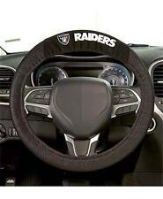 Official NFL Football Raiders Team Logo Black Premium Steering Wheel Cover