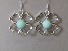Faceted Mint Green Jade in Lucky Four Leaf Clover Sterling Silver Earrings
