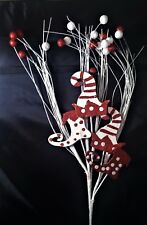 "New 23"" Christmas Pick-Red & White Glitter Berries, Stockings & Hats"
