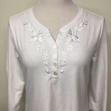 Laura Scott Womens 3/4 Sleeve Shirt Top Sz M White Cotton Embroidered Flowers