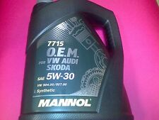 Mannol | OEM VW Audi Skoda BMW 5W-30 | Fully Synthetic Engine Oil 5 Liters | 5L