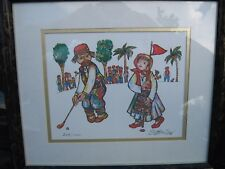 Print by painter Jovan O'Bican,  # 209 of 1000: GOLFERS 1995 PERSONALLY SIGNED