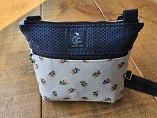 Cross body bag - Bumblebee print design with zipped outer pocket. Handmade.