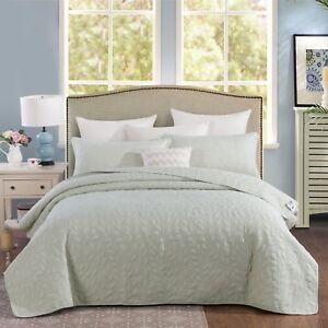 Tache Solid Light Green Sweet Pea Matelasse Blanket Bedspread Coverlet Set
