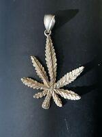 Vintage 925 sterling silver leaf pendant. Signed PK