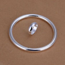Elegant 925 Stamped Sterling Silver Filled Golf bangle and Ring sets S425