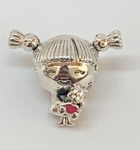 AUTHENTIC PANDORA SILVER CHARM LITTLE GIRL WITH PIGTAILS #798016EN160 + BOX