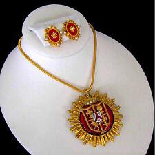 """Florenza Red Guilloche Enamel Rhinestone Crest Shield 24"""" Pendant & Earrings"""