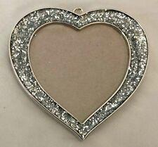 "Silvertone 3 1/4"" Heart Ornament Frame Holds 2.5X2.5"" Photo"