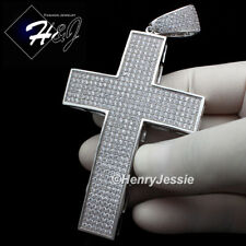Silver Oversize 3D Cross Charm Pendant*Bp1 Men 14K White Gold Finish Lab Diamond