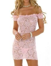 Sexy intimate Lingerie Pink Lace babydoll Exotic Dancer wear night gown BD106