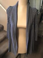 August Silk Womens Size L Shrug Sweater Open Front Gray Short Sleeve Textured