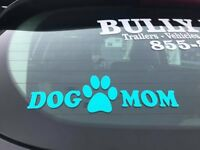 Custom Dog Mom Stickers, Many colors available, 10in by 3in